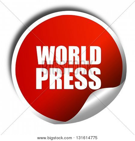 world press, 3D rendering, a red shiny sticker