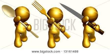 Ready to eat gold icon figures
