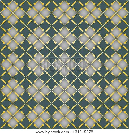 The pattern with decorative ornament in vintage style on gold background