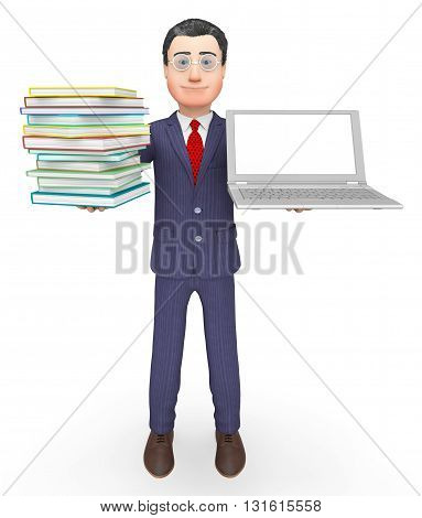 Books Businessman Shows Stack Knowledge And Internet 3D Rendering