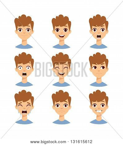 Illustration boy faces showing different emotions and boy face vector set. People expression child smile boy face and boy face little fun portrait head. Childhood curly hair, sad boy face character.