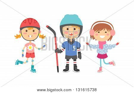 illustration of cartoon sport kids characters. Sport kids childhood team and winter ice sport kids group. Little play competition sport kids and healthy cheerful player sport kids outside action game.