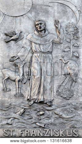 KLEINOSTHEIM, GERMANY - JUNE 08: Saint Francis, Monastery of Saint Mary in Kleinostheim, Germany on June 08, 2015.