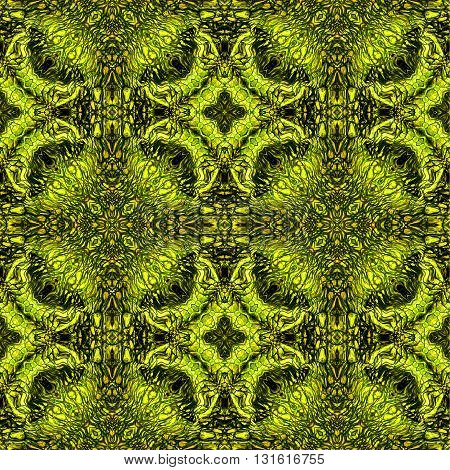 Abstract seamless pattern with gold, green and brown scalloped structure reminiscent of reptile skin