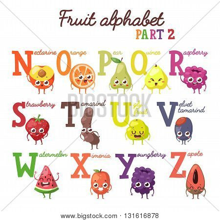 Full vector cute cartoon tasty alphabet for kids in bright colors. Educational poster fruit alphabet for school and home education fruit alphabet. Big healthy fruit alphabet collection part two.