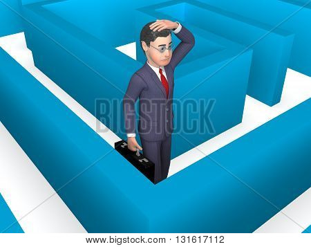 Lost Businessman Represents Decision Making And Achievement 3D Rendering