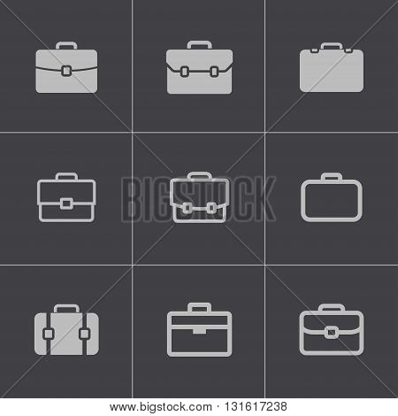 Vector black briefcase icons set on grey background