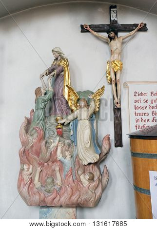 ZIEMETSHAUSEN, GERMANY - JUNE 09: Mary saves souls from purgatory, Maria Vesperbild Church in Ziemetshausen, Germany on June 09, 2015.