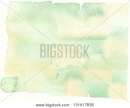 faded yellow green wet paint abstract watercolor background