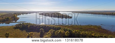 panorama of the river Kama in autumn day