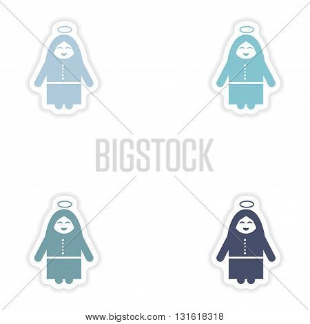Set of paper stickers on white background  Virgin Mary