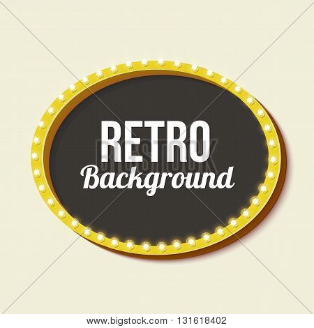 Oval vintage frame. Volumetric 3D vintage sign with neon lights. Background for your text, messages, advertising, business on a white background. illustration