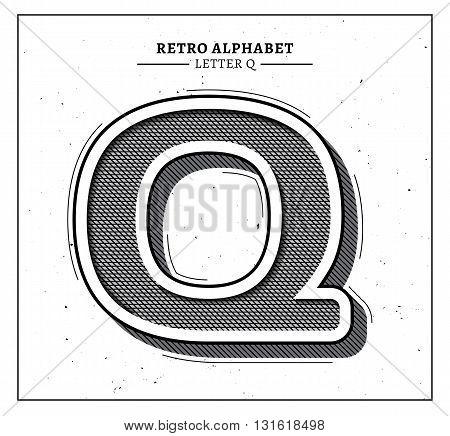 Retro style big 3d letter Q icon