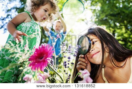 Children Flower Holiday Friendship Playful Summer Concept