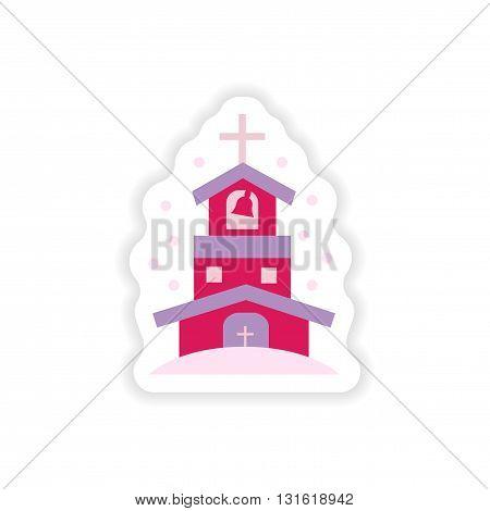 paper sticker on white background  Christian church