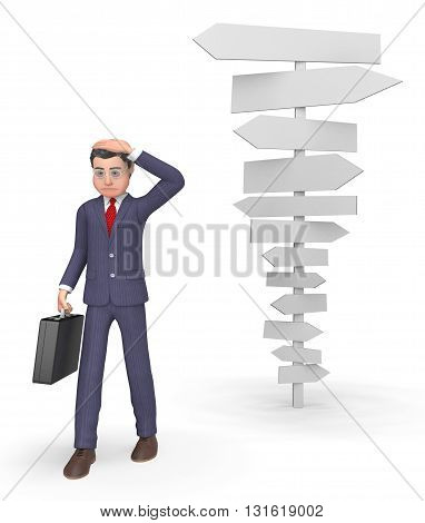Confused Businessman Means Blank Sign And Character 3D Rendering