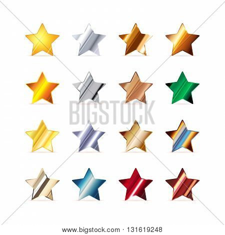 Set of 16 stars made of different metals isolated on white