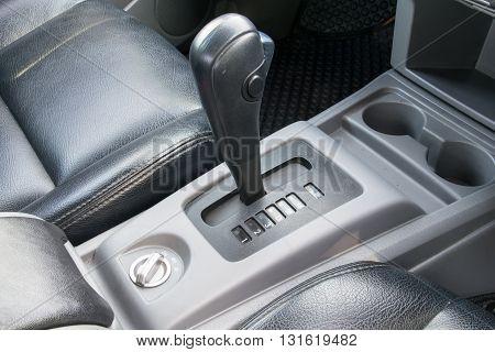 Car interior. Automatic transmission gear shift. interior, car, stick, move, chrome