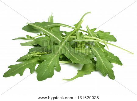Fresh arugula salad, isolated on white. Arugula leaves on white background.