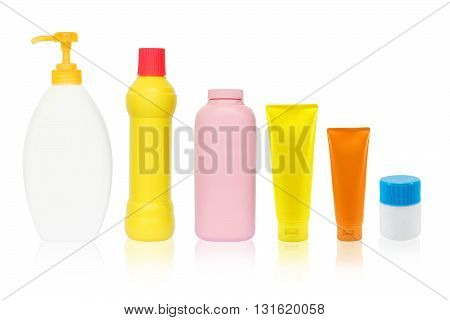Cosmetic bottle isolated on white color background