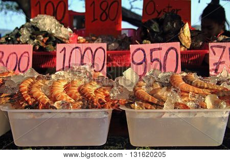Shrimps, Oysters And Other Seafood On The Street Market, Phuket Island