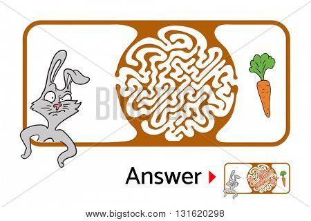 Maze puzzle for kids with rabbit and carrot. Labyrinth illustration, solution included.