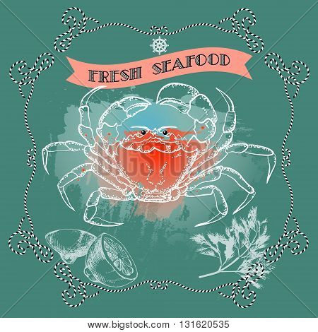 Vector seafood label with crab silhouette, lemon, dill, nautical accessory and words Fresh Seafood on gray background.