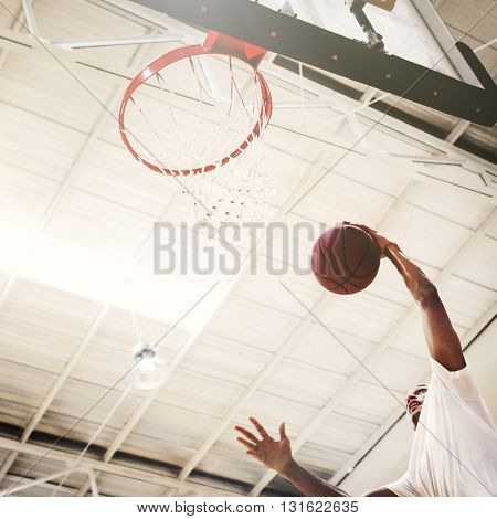 Basketball Man Sports Playing Game Concept