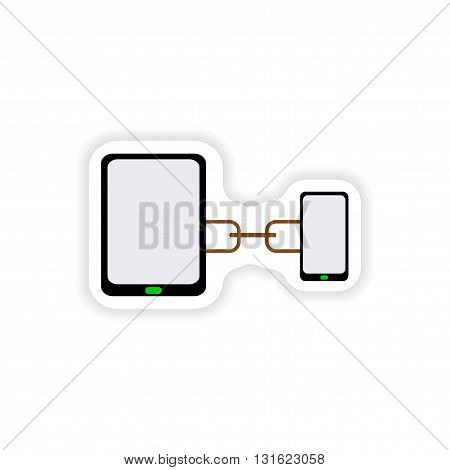 paper sticker on white background  mobile phone connection tablet