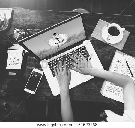 E-mail Connection Communication Using Computer Laptop Concept