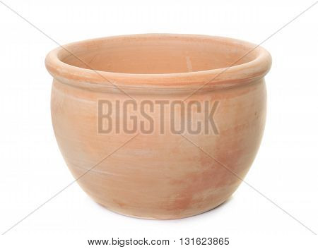 earthenware pot in front of white background