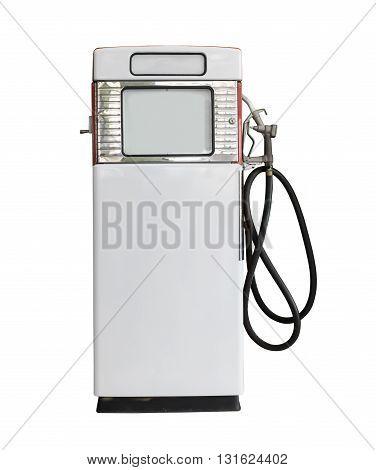 Vintage White Fuel Pump On White Background