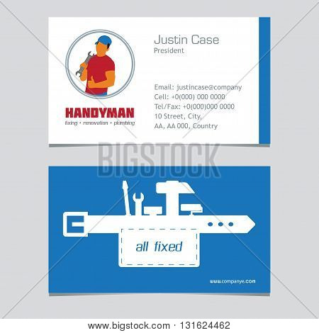 Handyman Business Sign Vector Set. Amenities repair house hold equipment fixing symbols. Vector graphics for working tools plumbing renovation best quality service concept. Sample text. Editable