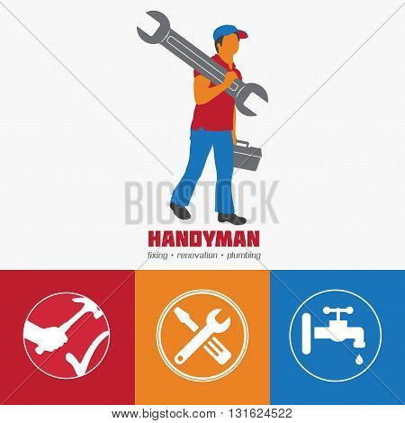 Handyman Business Sign & Vector Icon set. Amenities repair house hold equipment fixing symbols. Vector graphics for working tools plumbing renovation best quality service concept. Sample text. Editable