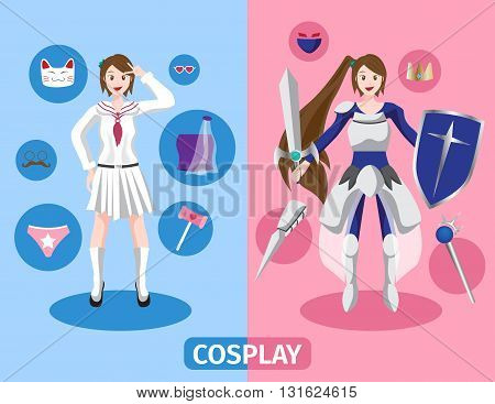 Japan anime cosplay vector , 2 cosplay set