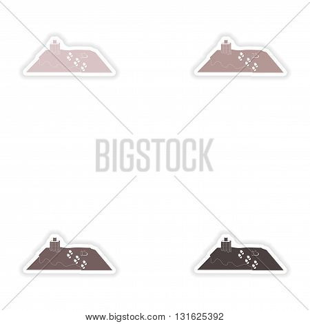 Set of paper stickers on white background   roof snow