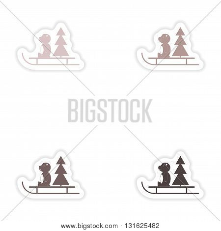 Set of paper stickers on white background   Bear sled tree