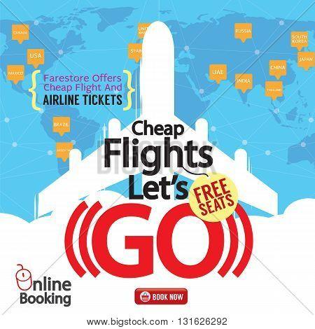Cheap Flights Advertising Banner Vector Illustration. EPS 10