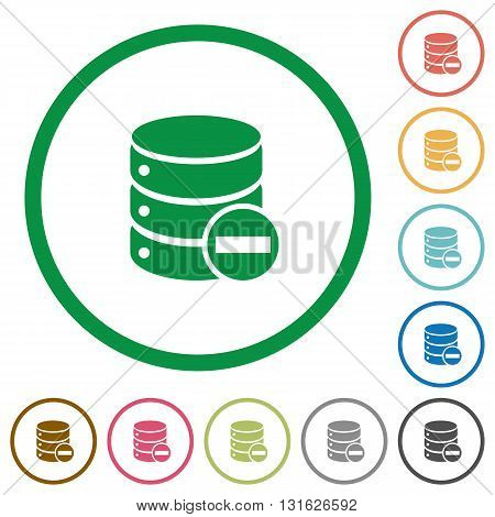 Set of Remove from database color round outlined flat icons on white background