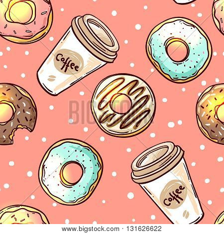 Beautiful hand drawn vector seamless pattern donut. Sketch style donut. Donut for your design.