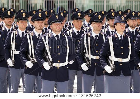Rome Italy - May 25 2016: Deployment of Italian police department during the celebrations for the 164th anniversary of the State Police.
