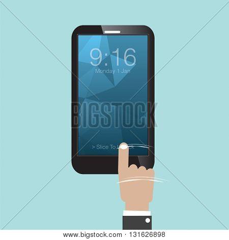 Slide To Unlock Smartphone Vector Illustration. EPS 10