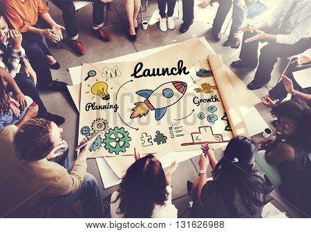 Launch Start up New Business Begin Concept