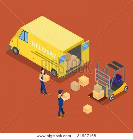 Isometric Delivery Car Cargo Industry. Worker on Forklift Vector Illustration