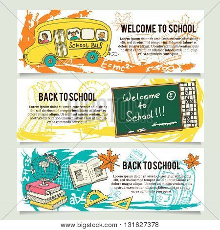 Back to school banners or website header set. Tooth, toothbrush, toothpaste, healthy tooth, tooth brushes, tooth paste, mouth wash, dental floss.