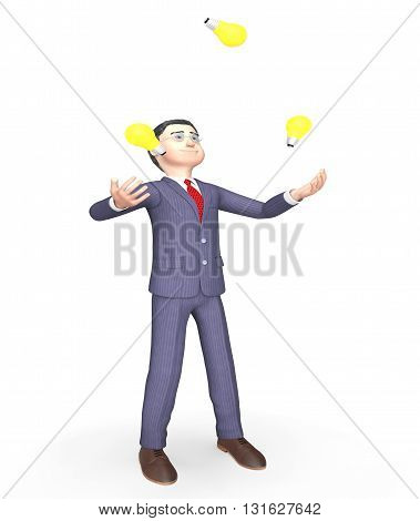 Idea Lightbulbs Indicates Business Person And Ability 3D Rendering