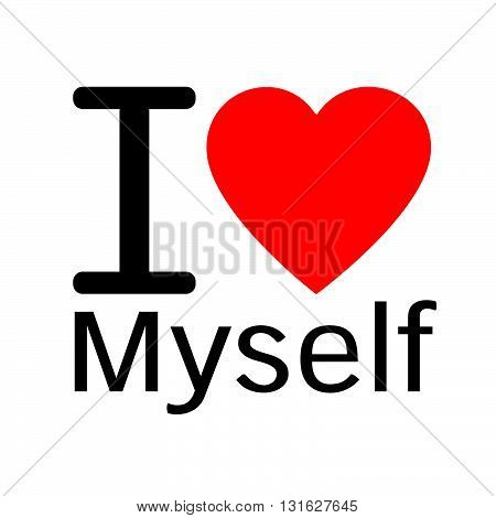 i love Myself lettering illustration design with sign