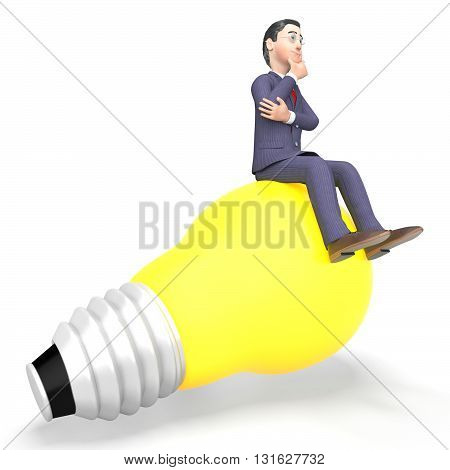 Thinking Businessman Represents Light Bulb And Character 3D Rendering