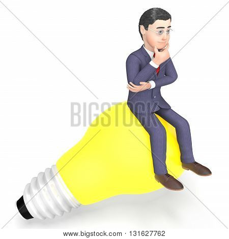 Lightbulb Thinking Indicates Power Source And Character 3D Rendering