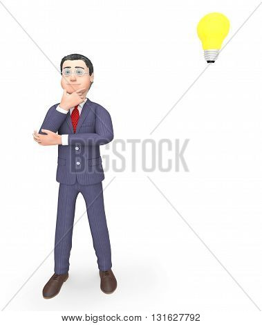 Character Thinking Indicates Power Source And Business 3D Rendering